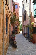 European Cafes Prints - Narrow Street In Old City Of Chania Crete Greece Print by Ana Maria Edulescu