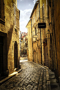 Cobblestone Prints - Narrow street in Perigueux Print by Elena Elisseeva