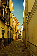Seville Posters - Narrow Street in Seville Poster by Mary Machare