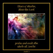 Nasa Ll Ori And The Orion Nebula Stars Of Heaven Bless The Lord Print by Rose Santuci-Sofranko