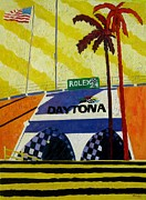 Nascar Paintings - Nascar Rolex 24 by Lesley Giles
