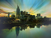 Cumberland River Framed Prints - Nashville Over The Cumberland Framed Print by Steven  Michael