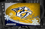 Predators Framed Prints - Nashville Predators Christmas Framed Print by Joe Hamilton