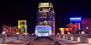 Downtown Nashville Framed Prints - Nashville Sight Night Skyline Pinnacle Panorama Color Framed Print by Jon Holiday
