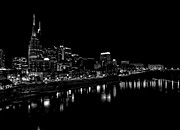 Nashville Skyline At Night In Black And White Print by Dan Sproul