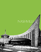 Nashville Skyline Country Music Hall Of Fame - Olive Print by DB Artist