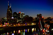 Nashville Tennessee Posters - Nashville Skyline Poster by David Johnston