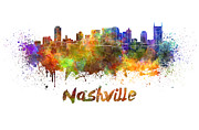Nashville Skyline In Watercolor Print by Pablo Romero