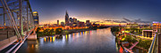 Sunset Framed Prints - Nashville Skyline Panorama Framed Print by Brett Engle