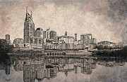 Nashville Skyline Reflection Print by Janet King