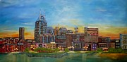 Buildings In Nashville Paintings - Nashville Tennessee by Annamarie Sidella-Felts