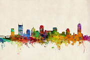 States Prints - Nashville Tennessee Skyline Print by Michael Tompsett