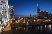 Nashville Tennessee With Pedestrian Bridge  Print by John McGraw