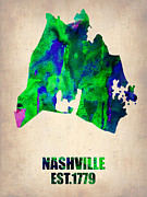 Nashville Watercolor Map Print by Irina  March