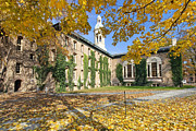Hall Prints - Nassau Hall with Fall Foliage Print by George Oze