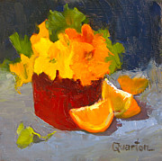 Lori Quarton Art - Nasturtiums and Oranges 1 by Lori Quarton