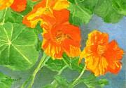 K Joann Russell - Nasturtiums Flowers Garden Small Oil Painting
