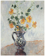 Yellow Flowers Posters - Nasturtiums in a Blue Vase Poster by Claude Monet