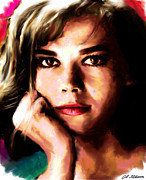Movie Stars Paintings - Natalie Wood by Allen Glass