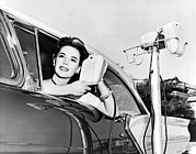 Drive In Theatre Framed Prints - Natalie Wood At A Drive-In Framed Print by Underwood Archives