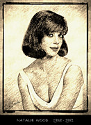 Award Drawings Prints - Natalie Wood Print by George Rossidis