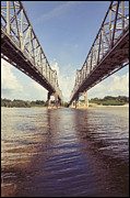 Mississippi Photographs Posters - Natchez Bridges crossing the Mississippi Poster by Ray Devlin