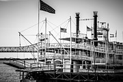 Steamboat Framed Prints - Natchez Steamboat in New Orleans Black and White Picture Framed Print by Paul Velgos