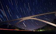 Startrails Photos - Natchez Trace Bridge at Night by Malcolm MacGregor