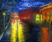 Night Lamp Paintings - Natchitoches Louisiana Mardi Gras Parade at Night by Lenora  De Lude