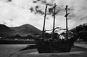 Rememberance Framed Prints - National Famine Memorial the skeleton ship by John Behan beneath Croagh Patrick mayo Framed Print by Joe Fox
