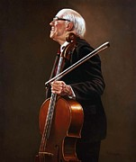 Paul Collins Paintings - National Symphony Orchestra Director - Rostropovich by Paul Collins