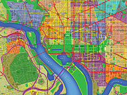 Washington Art - Nations Capital Map Art by Paul Hein