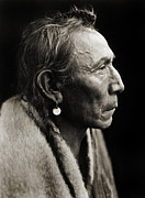 Edward Curtis Framed Prints - Native American Aki-Tanni Two Guns Framed Print by The  Vault