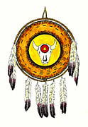 Native American Watercolor Paintings - Native American Ceremonial Shield Number 2 by Michael Vigliotti