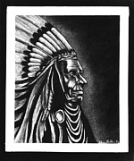 Native Chief Drawings - Native American Chief by Sheena Bolken