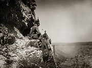 Edward Curtis Framed Prints - Native American Crow Men on Rock Ledge Framed Print by The  Vault