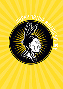 Native American Day Celebration Retro Greeting Card Print by Aloysius Patrimonio