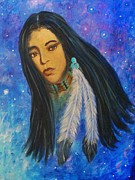 Sacred White Buffalo Posters - Native American Female Poster by The Art With A Heart By Charlotte Phillips