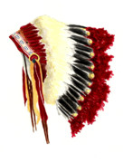 Native American Watercolor Paintings - Native American Headdress by Michael Vigliotti