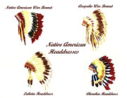Native American Watercolor Paintings - Native American Headdresses Number 3 by Michael Vigliotti
