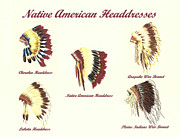 Native American Watercolor Paintings - Native American Headdresses Number 4 by Michael Vigliotti