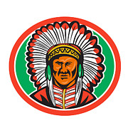 Native American Digital Art - Native American Indian Chief Headdress by Aloysius Patrimonio