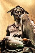 Indian Warrior Sculpture Prints - Native American Indian Sculpture Print by Gallery Three
