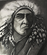 Pencil Native American Drawings - Native American Indian by Sherry Thompson