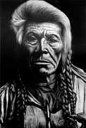 Pencil Native American Drawings - Native American by Jerry Winick