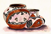 Jugs Painting Prints - Native American Pottery Print by Paula Ayers