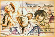 Fine American Art Drawings Posters - Native American Stars - Indian Collage Drawing Poster by Peter Art Print Gallery  - Paintings Photos Posters