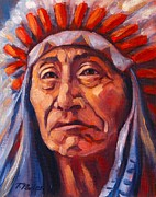 Native American Portrait Framed Prints - Native American Study 2 Framed Print by Theresa Paden