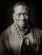 American Indian Portrait Prints - Native American Taos Indian White Clay Print by The  Vault