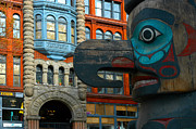 Pioneer Square Art - Native American totem  by Glenn McGloughlin
